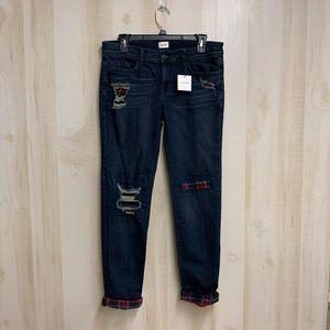NWT Sneak Peek Flannel Distressed Jeans Size 7